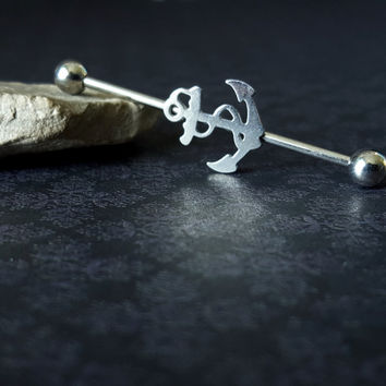 Surgical Steel Anchor Industrial Barbell (14G)