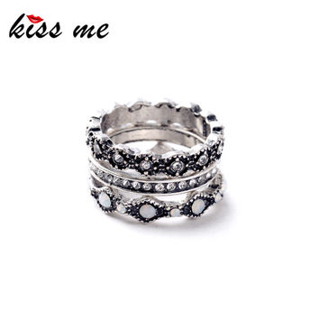 Trio Plated Ancient Silver Punk Rings
