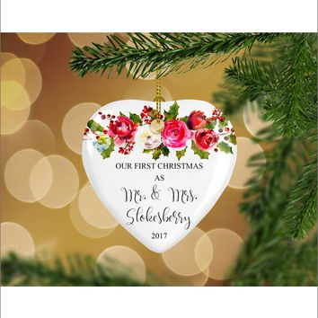 Personalized Floral Our First Christmas as Mr. & Mrs. Christmas Ornament- Wedding Ornament - Christmas Gift Ideas - HO0008