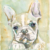 "Custom Pet Portrait Watercolor Painting from Picture 5x7  8x10  8""x11""  French Bulldog Dog Animal Photo Portrait Picture Painting"