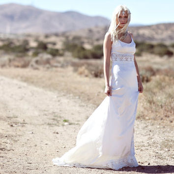 "Bohemian Silk Wedding Gown, Low Back Dress, Crochet Lace Trim - ""Dean"""