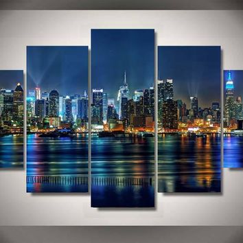 5 Pieces NYC Cityscape New York City 5 panel canvas room wall art picture print