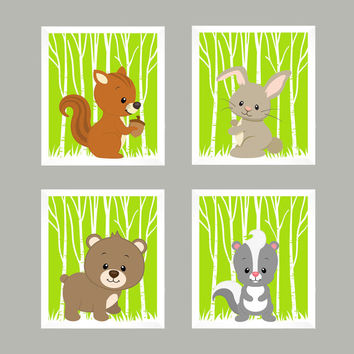 Forest Animals on Lime, Woodland Animals, CUSTOMIZE COLORS, 8x10 Prints, set of 4, Nursery Decor, Animal Print, Baby Boy Girl Wall Prints