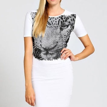 Black and White Leopard Face Dress
