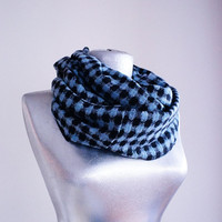 Handmade Squared Infinity Scarf - Tweed - Blue Black - Winter Autumn Scarf
