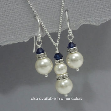 Personalized Bridesmaid Jewelry Set, Swarovski Ivory and Navy Pearl Bridesmaid Gift Set, Mother of the Bride Gift, Mother of the Groom Gift