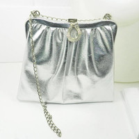 1950s Silver Metallic Evening Handbag, Formal accessories, ball new years purse, Vintage 1950s Silver Metallic Evening  50s Silver Vinyl