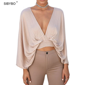 Julissa Mo Summer Batwing Tops Sexy Deep V Neck Backless Knitted Cotton Bodycon Blouse Elegant Party Clubwear Crop Tops Blusa
