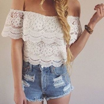 PEAPIH3 FASHION OFF SHOULDER LACE TOP BLOUSE SHIRT