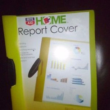 REPORT COVERS;YELLOW;SLIDE LOCK BINDING;20 SHEET CAPACITY;CLEAR FRONT COVER;NEW