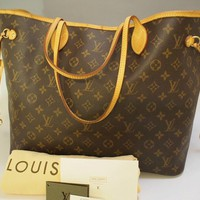 AUTHENTIC LOUIS VUITTON NEVERFULL GM LARGE SHOULDER TOTE BAG HANDBAG PURSE LV