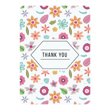 Colorful Floral Thank You Card