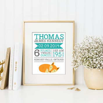 Birth announcement, birth stat prints, fox art nursery, birth stat wall art, birth stat woodland, birth gift, typography print, home decor