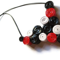 Black, Red and White Necklace- Paper Bead Cluster, Retro, Christmas Gift Idea