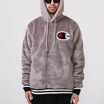 Mens XQUARE 23 Champion Patchwork Furry Pullover Hoodie at Fabrixquare