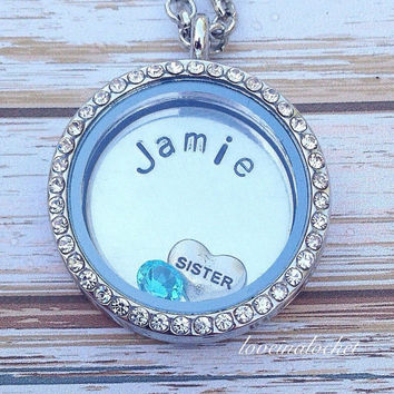 Sister Floating Locket, Hand Stamped Necklace, Sister Gift, Sister Birthday Gift, Sister Charm Necklace, Personalized Sister Locket Necklace