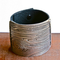 Pewter Wood Veneer Cuff