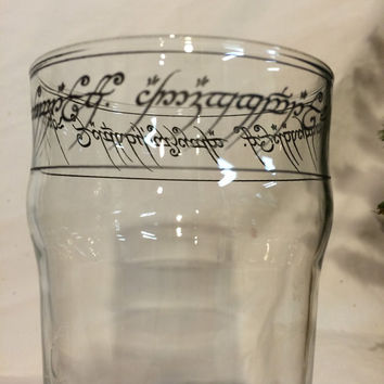 LOTR Tolkien Tengwar script Nonic Lager pint glass One Pint To Rule Them All