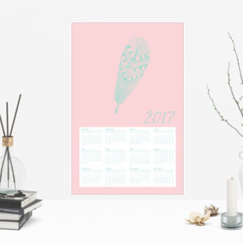 2017 Teal and Pink Feather Calendar Poster