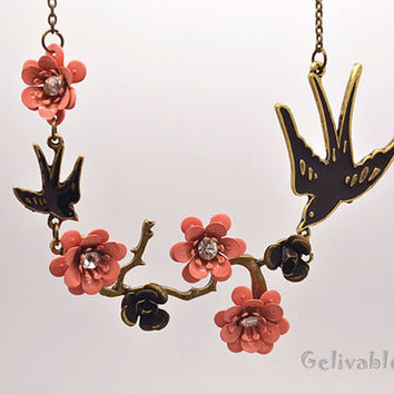 Two swallows with pink peach blossoms necklace NS04