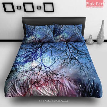 Woods Reflection on Nebula Galaxy Bedding Sets Home Gift Home & Living Wedding Gifts Wedding Idea Twin Full Queen King Quilt Cover Duvet Cover Flat Sheet Pillowcase Pillow Cover 066