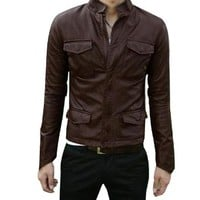 Men Fake Pockets Detail Stand Collar Full Zip Long Sleeve Jacket