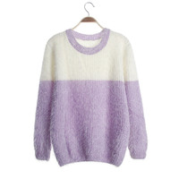 Contrast Color Scoop Mohair Drape Short Pullover Sweater