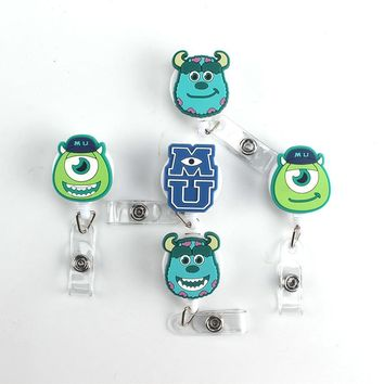 5pcs High Quality Cartoon Monster Retractable Pull Badge Reel ID Card Clip ID Badge Lanyard Name Tag Card For School Offices