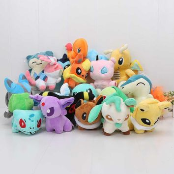 20pcs/set anime stuffed animal doll 20 Different style Eevee Cyndaquil Squirtle Charmander Plush Character Soft Toy kids gift