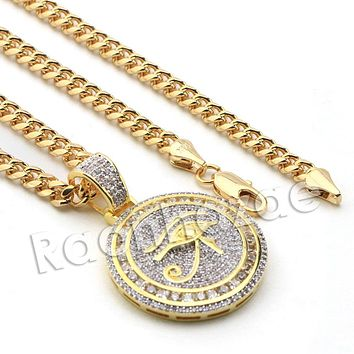 Lab diamond Micro Pave Rounded Eye of Horus Pendant w/ Miami Cuban Chain BR036