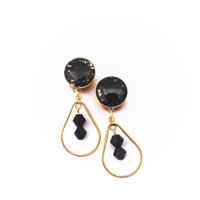 Black Crushed Glass on Gold Dangle Plugs / 8g, 6g, 4g, 2g, 0g, 00g, 1/2, 9/16, 5/8 inch / Black Glass Gold Dangle Gauges / Gold Plugs