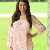 """Fancy Off the Shoulder"" Lace Top in Peach"