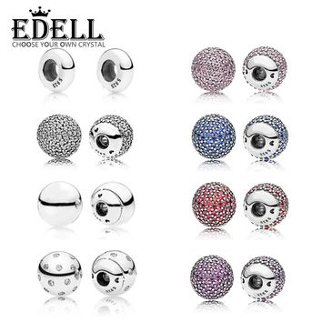 EDELL Authentic 100% 925 Sterling Silver Bracelet & bangle single Crystal ball chain head Fit DIY Women Bead Charm With parts