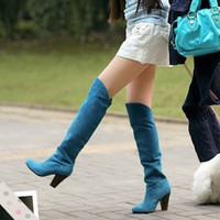 2015 Fashion Women Boots Shoes Black Suede High-heeled Knee Boots Knight Boots