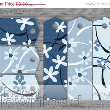 WEEKEND SALE 50% OFF blue short and long gift tags / bookmarks, Mother's day printables, spring flowers, floral patterned digital paper