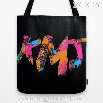 "Monogram/Personalized ""Iaia in Black"" Custom Tote Bag 16x16 Black Mustard White Ochre Hot Pink Neon Orange Blue Paint Splatter"