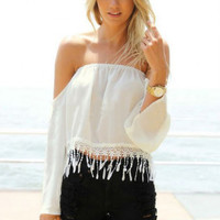 White Off the Shoulder Strapless Blouse - Sheinside.com