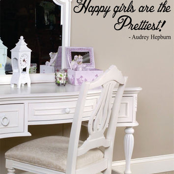 Happy Girls are the Prettiest Audrey Hepburn Quote Decal Sticker Wall Vinyl Decor Art