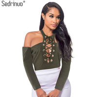 Fashion Women Rompers and Jumpsuits Lace up Round Neck Long Sleeve Bodysuit off shoulder Sexy Bodycon Short Jumpsuit