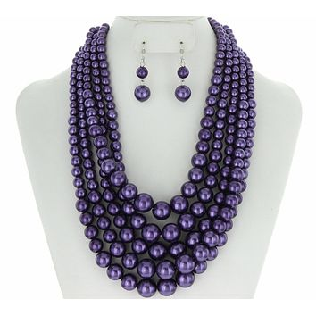 Layered Pearls 5 Layer Necklace Set