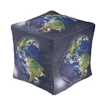Earth Rising in the sun Cube Pouf