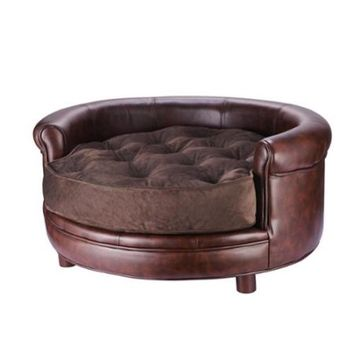 Chesterfield Faux Leather Large Dog Bed Designer Pet Sofa By Villacera Brown - Walmart.com