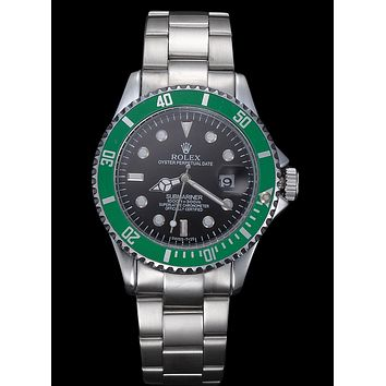 Rolex Trending Ladies Men Stylish Beautiful Business Sport Movement Lovers Watch Wrist Watch Silvery Watchband+Black Watch Dial+Green Watch Shell I-YY-ZT