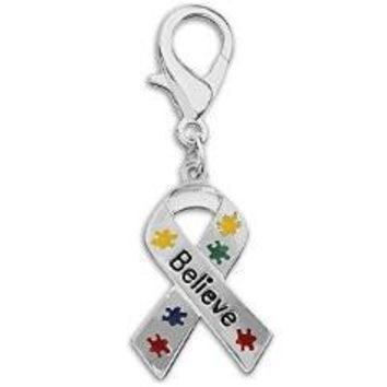 Puzzle Piece Ribbon Believe Hanging Charm for Heart Disease Awareness
