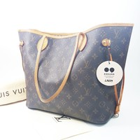 Authentic Louis Vuitton Neverfull MM Monogram M40156 With Initial Stamping LA659