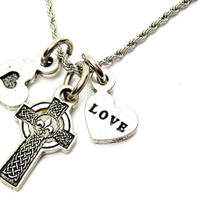 Celtic Cross With Fleur De Lis Center Stainless Steel Rope Chain Necklace