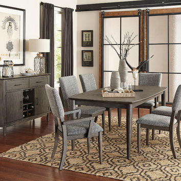 Home Elegance HE-5568-78 7 pc Roux rusticated grey finish wood dining table set