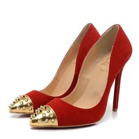 Christian Louboutin Fashion Edgy Rivets Pointed Red Sole Heels Shoes