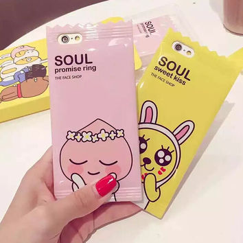 Korea Cartoon Candy Rabbit Case for Iphone 6 6s 6 Plus 4.7 5.5'' Cute Animal Tpu Silicone Phone Case Back Cover Lanyard Fundas