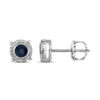 Sterling Silver Womens Round Blue Colored Diamond Stud Earrings 1/10 Cttw